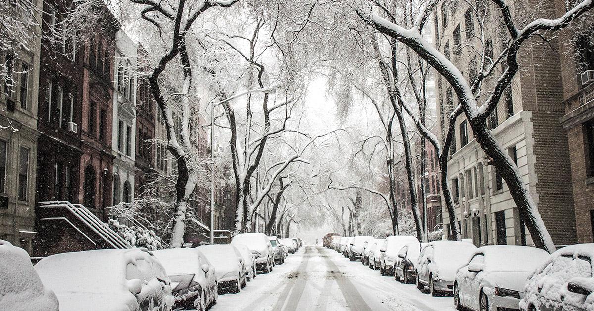 parkirani automobili potpuno prekriveni snegom